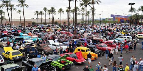 Spectators at the Barrett-Jackson auction in Scottsdale, Ariz.