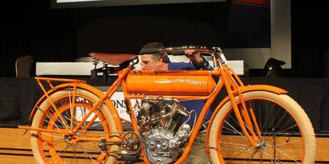This 1910 Flying Merkel motorcycle sold for $86,800 at the Auctions America by RM sale in Las Vegas.