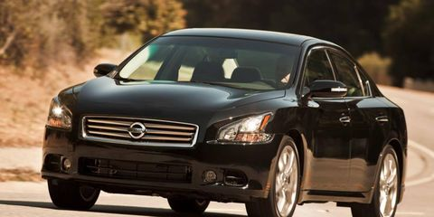 The V6 in the 2012 Nissan Maxima is rated at 290 hp.