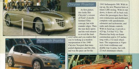 A selection from the pages of Autoweek circa 1997 of the Detroit auto show.