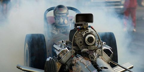 Big Daddy goes for it in his Swamp Rat drag car.