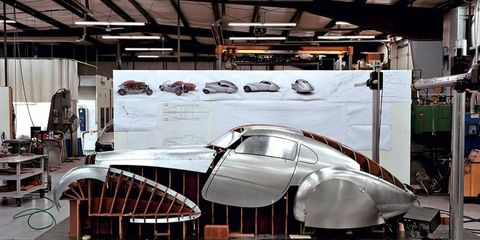 Bugatti collector Peter Mullin and his team are fashioning a body for the 1939 Bugatti Type 64 Coupe chassis.
