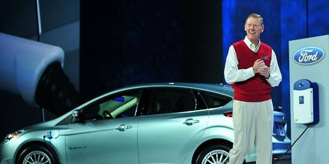 Ford CEO Alan Mulally had an interesting conversation with Mercedes-Benz CEO Dieter Zetsche at CES. Mulally is shown in 2011 at the electronics extravaganza.