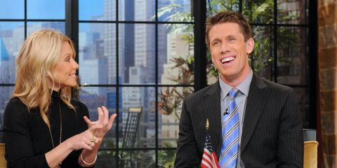 NASCAR Sprint Cup Series driver Carl Edwards warmed up for Wednesday's test session at Daytona by cohosting a TV talk show with Kelly Ripa on Tuesday.