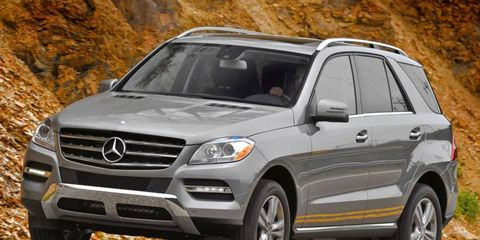 The V6 in the 2012 Mercedes-Benz ML350 is rated at 302 hp.