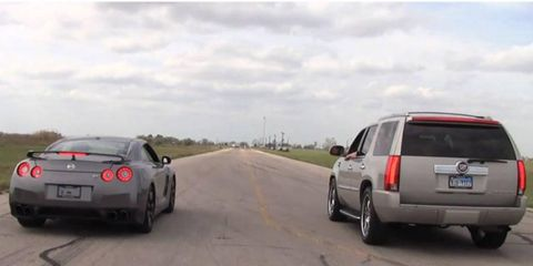 A Hennessey Cadillac Escalade takes on a Nissan GT-R.