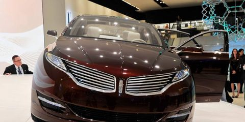 The new Lincoln MKZ will ride on one of Ford's global platforms. The MKZ concept is shown at the Detroit auto show.