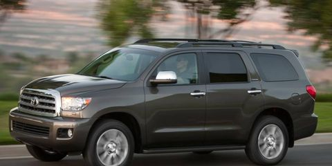 The V8 in the 2011 Toyota Sequoia is rated at 381 hp.