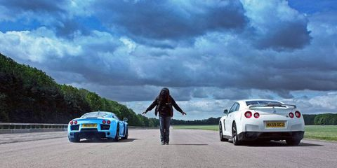 A Noble M600 launches out ahead of a Nissan GT-R at VMAX Overboost in 2011.