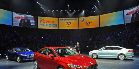 The redesigned 2013 Ford Fusion will be equipped with an EcoBoost four-cylinder engine. No V6 will be offered.