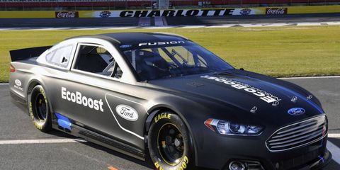 The 2013 Ford Fusion that will race in the NASCAR Sprint Cup Series is designed to look like the street model.
