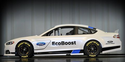 The 2013 Sprint Cup car reflects the recently unveiled 2013 Fusion production car.