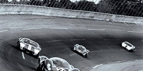 Ferraris, seen sandwiching one of Ford's GT40s, owned the podium in 1967.