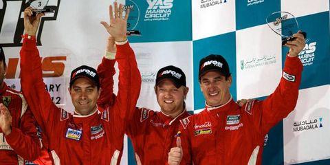 Ryan Dalziel and Starworks Motorsport teammates Alex Popow, left, and Enzo Potolicchio, right, finished third in Abu Dhabi.