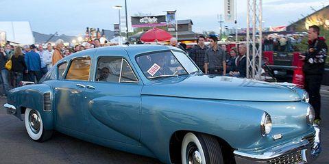 This 1948 Tucker Torpedo sold for $2.9 million Saturday at the Barrett-Jackson auction in Arizona.