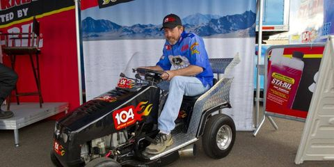 Bobby Cleveland says the engine in his record-setting mower is putting out about 40 hp.