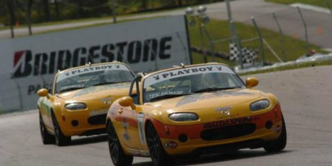 Alara teammates Tim Probert and Carlos Tesler-Mabe drive in a 2008 Mazda MX-5 Cup race. The series recently announced its new schedule.