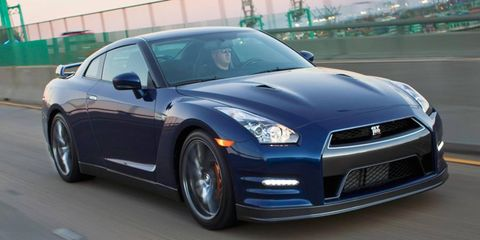The twin-turbo V6 in the 2013 Nissan GT-R is rated at 545 hp.