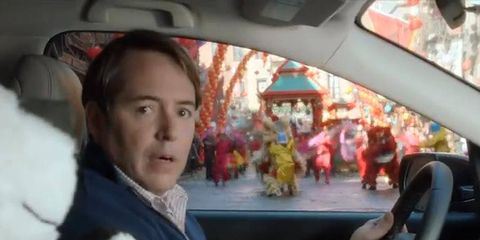 Actor Matthew Broderick spies a parade in his Honda CR-V commercial.
