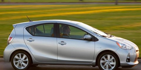 The hybrid powertrain of the Toyota Prius C puts out a combined 99 hp.