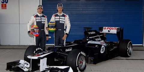 The Williams FW34 will be piloted by Pastor Maldonado and Bruno Senna in 2012.