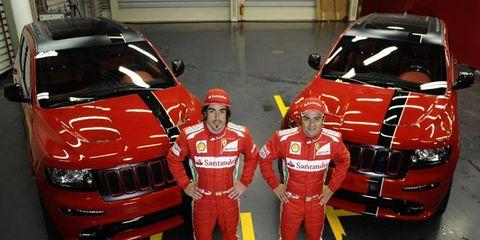 Jeep gave Felipe Massa and Fernando Alonso special-edition SRT8 Grand Cherokees.