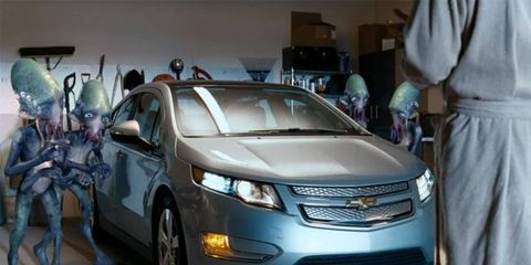 Chevrolet's ad for the Volt features aliens.