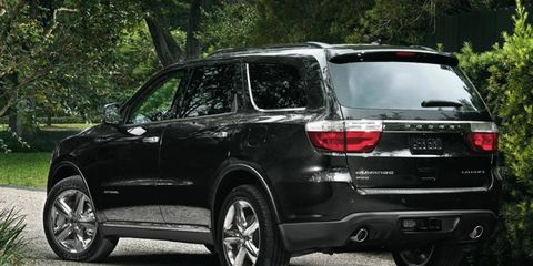 The V8 in the 2012 Dodge Durango is rated at 360 hp.