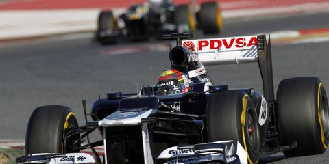 Pastor Maldonado led the field in the third day of Formula One testing at Barcelona on Thursday.