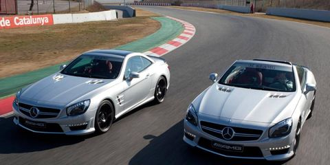 The turbo V8 in the Mercedes-Benz SL63 AMG is rated at 529 hp.