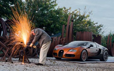 The Bugatti Grand Sport by Bernar Venet will be displayed at the Art Basel show in Miami.
