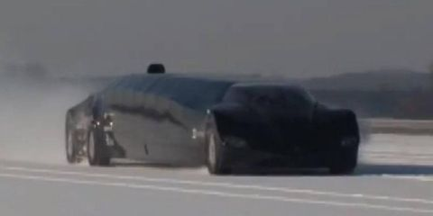 The Netherlands' Superbus test vehicle zips to and fro in cold weather.