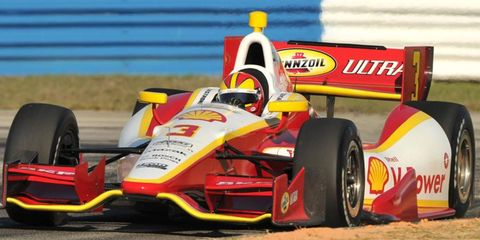 Helio Castroneves led a Team Penske run to the top of the speed chart at Sebring, Fla., on Tuesday.