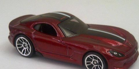 This scale model is said to be a look at the redesigned 2013 SRT Viper.