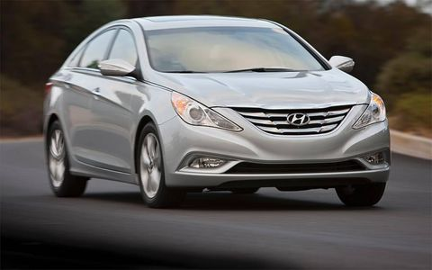A view of the front of the 2011 Hyundai Sonata.