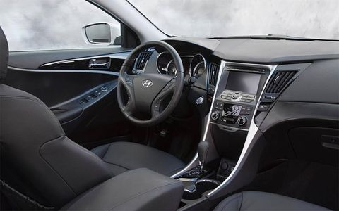A view of the interior of the 2011 Hyundai Sonata.