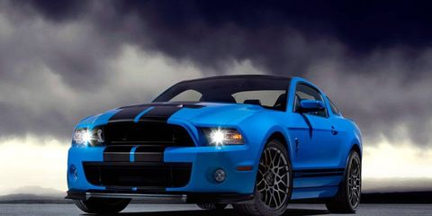 The 2013 Ford Mustang Shelby GT500 comes with a 650-hp, 5.8-liter supercharged V8 and a manual transmission standard.