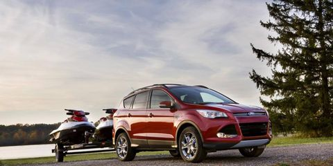 The Ford Escape can tow 3,500 pounds with the 2.0-liter EcoBoost engine.
