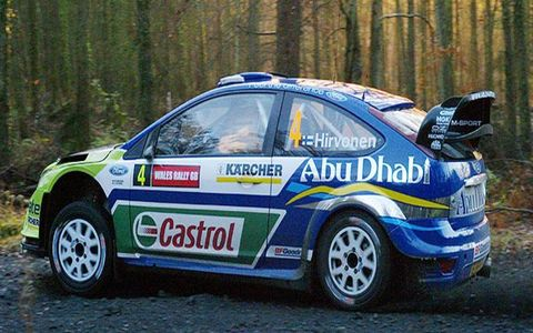 Rally winner Mikko Hirvonan in his Ford Focus RS WRC.