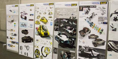 Students' work on display at the award ceremony for the Michelin Design Challenge at the College for Creative Studies.