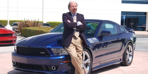 Steve Saleen stands with his latest rework of the Ford Mustang, the SMS 302 Mustang.