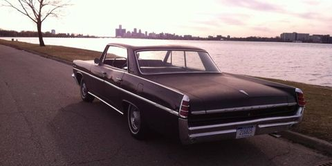 Big Rhonda, the 1963 Pontiac StarChief, relaxes in a Detroit sunset.