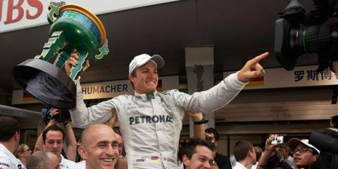 Nico Rosberg won his his first Formula One race in his 111th start on Sunday in Shanghai, China.