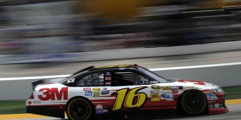 Gregg Biffle streaks around Texas Motor Speedway Friday in preparation for the weekend's Sprint Cup Race.