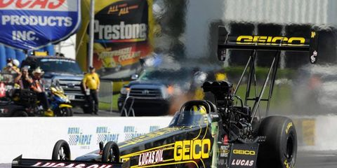 Morgan Lucas brought home the winning trophy from the NHRA Spring Nationals in  Texas on Sunday.