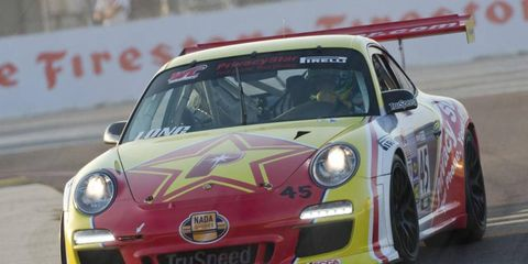Patrick Long, above, took the World Challenge win in the GT class, while Andy Lee was the winner in GTS.