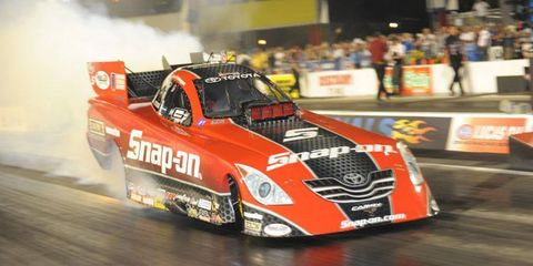 Cruz Pedregon, who has been one of the top drivers in the NHRA's Funny Car division, had a great day on Friday, qualifying first at Royal Purple Raceway.