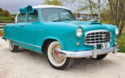 This 1955 Nash Rambler Custom Super sedan comes with vintage swamp cooler in color-matched turquoise.