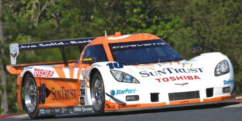 Max Angelelli and pole sitter Ricky Taylor won in the Daytona Prototype class at New Jersey Motorsports Park on Sunday.