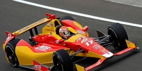 Sebastián Saavedra ran a lap of 221.526 mph in practice at the Indianapolis Motor Speedway on Sunday.